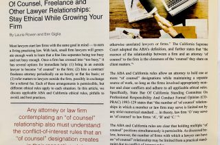 Of Counsel, Freelance and Other Lawyer Relationships Published in AWI Journal